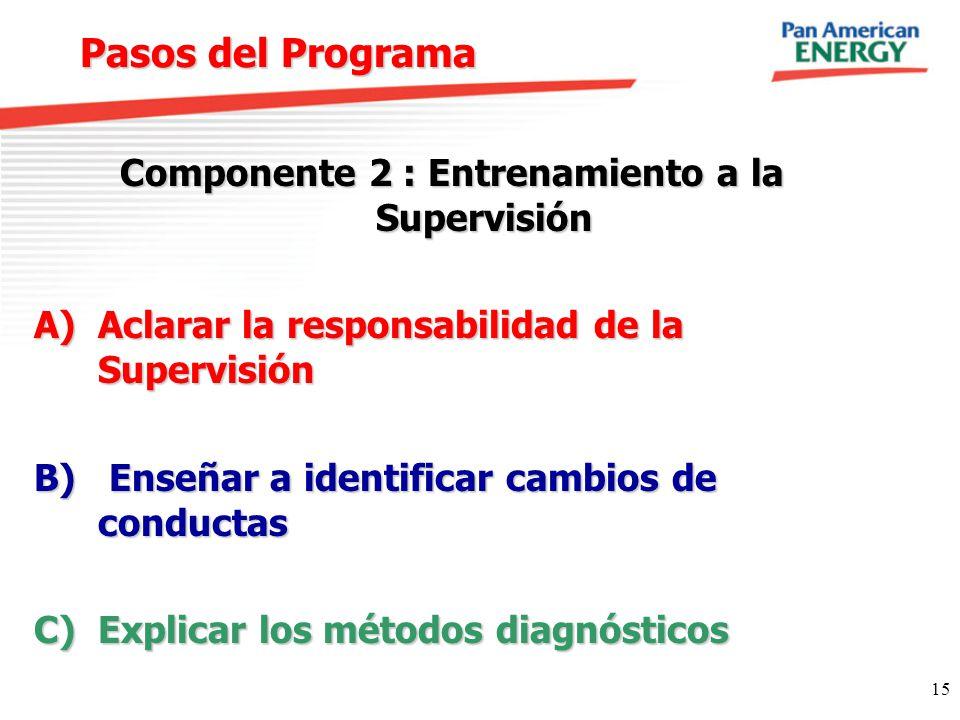 15 Pasos del Programa Componente 2 : Entrenamiento a la Supervisión A)Aclarar la responsabilidad de la Supervisión B) Enseñar a identificar cambios de