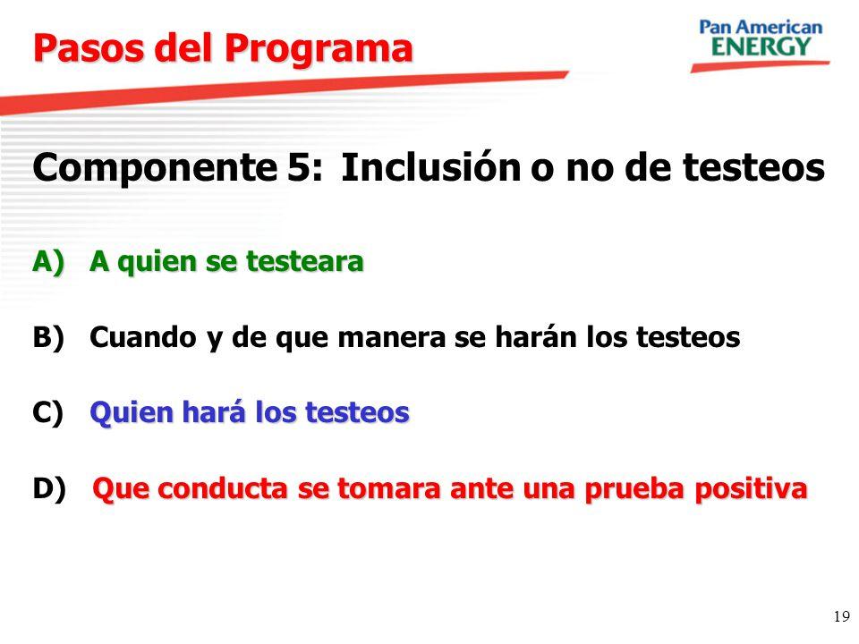 19 Pasos del Programa Componente 5: Inclusión o no de testeos A)A quien se testeara B) Cuando y de que manera se harán los testeos Quien hará los test