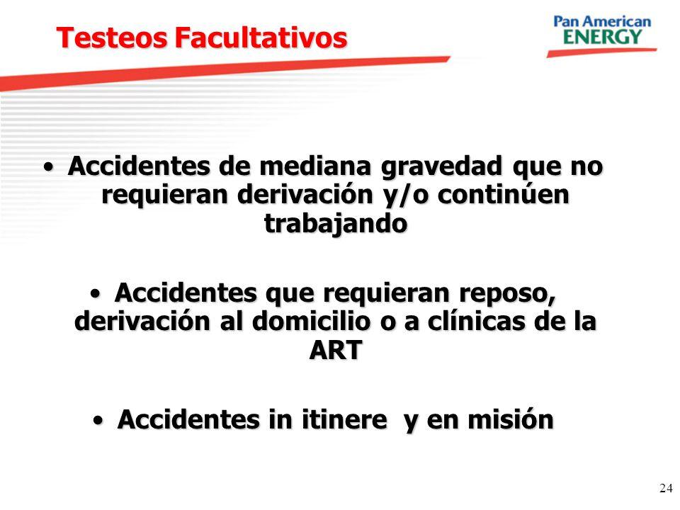 24 Testeos Facultativos Accidentes de mediana gravedad que no requieran derivación y/o continúen trabajandoAccidentes de mediana gravedad que no requi