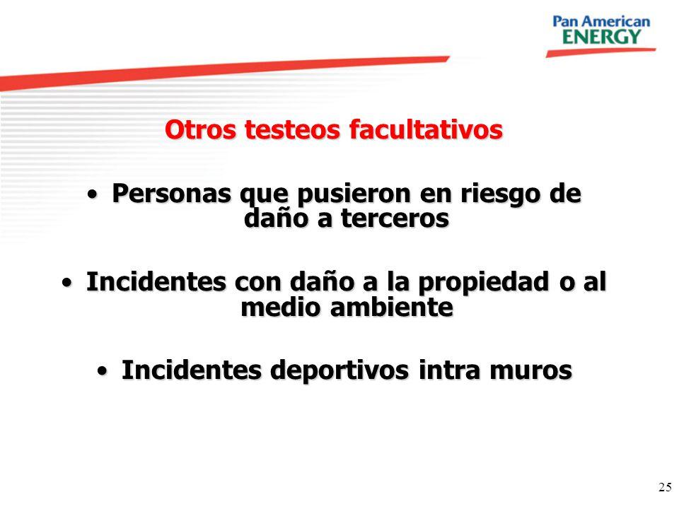25 Otros testeos facultativos Personas que pusieron en riesgo de daño a tercerosPersonas que pusieron en riesgo de daño a terceros Incidentes con daño