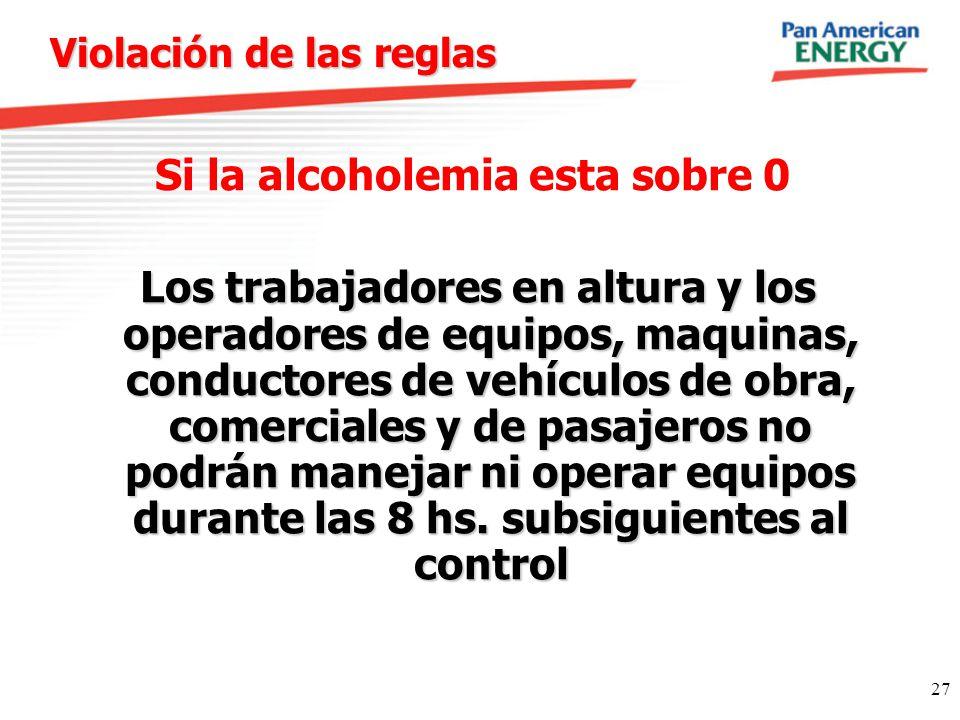 27 Violación de las reglas Si la alcoholemia esta sobre 0 Los trabajadores en altura y los operadores de equipos, maquinas, conductores de vehículos d