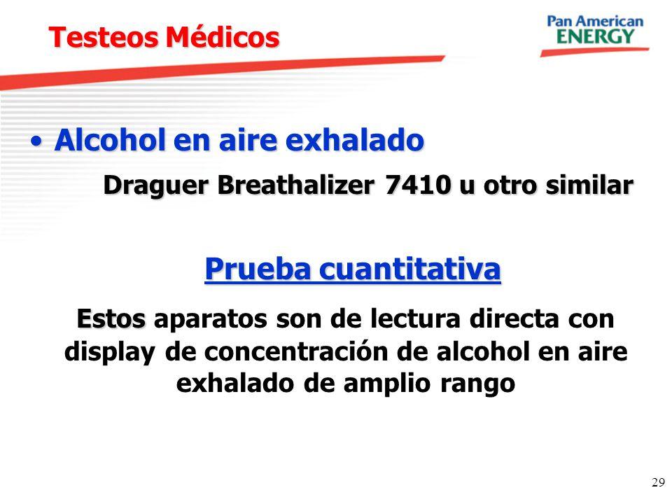 29 Testeos Médicos Alcohol en aire exhaladoAlcohol en aire exhalado Draguer Breathalizer 7410 u otro similar Prueba cuantitativa Estos Estos aparatos