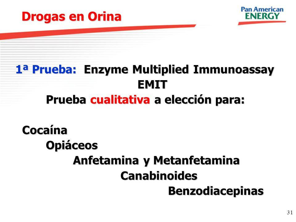 31 Drogas en Orina 1ª Prueba:Enzyme Multiplied Immunoassay 1ª Prueba: Enzyme Multiplied Immunoassay EMIT EMIT Prueba cualitativa a elección para: Prue