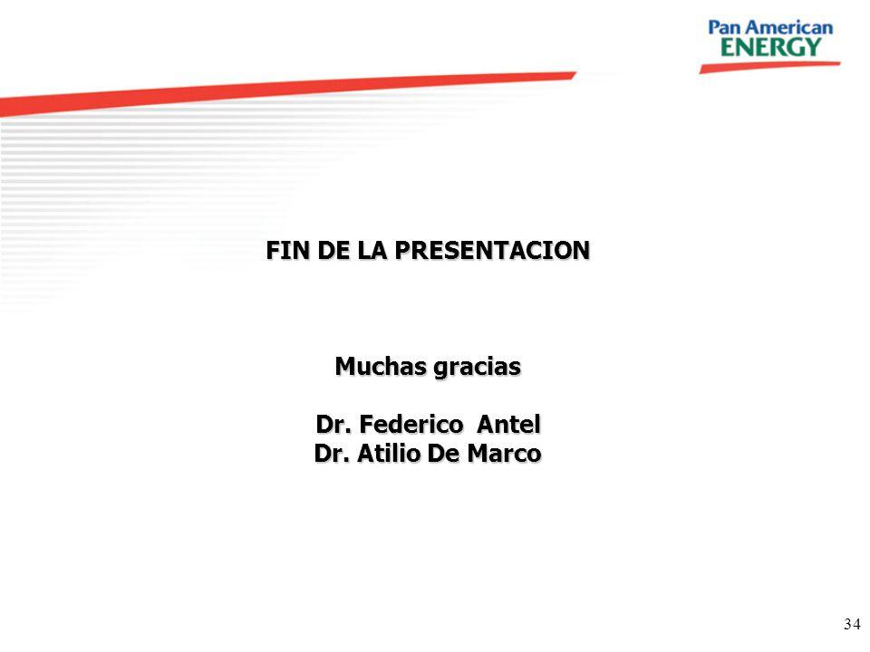 34 FIN DE LA PRESENTACION Muchas gracias Dr. Federico Antel Dr. Atilio De Marco