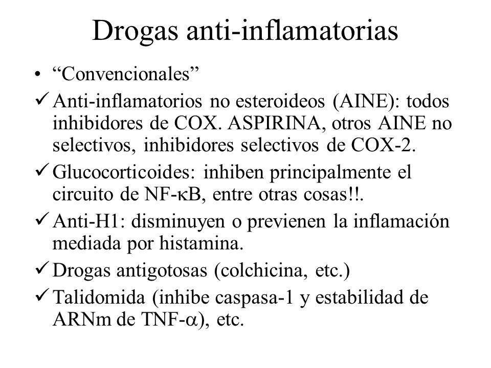 Drogas anti-inflamatorias Convencionales Anti-inflamatorios no esteroideos (AINE): todos inhibidores de COX. ASPIRINA, otros AINE no selectivos, inhib