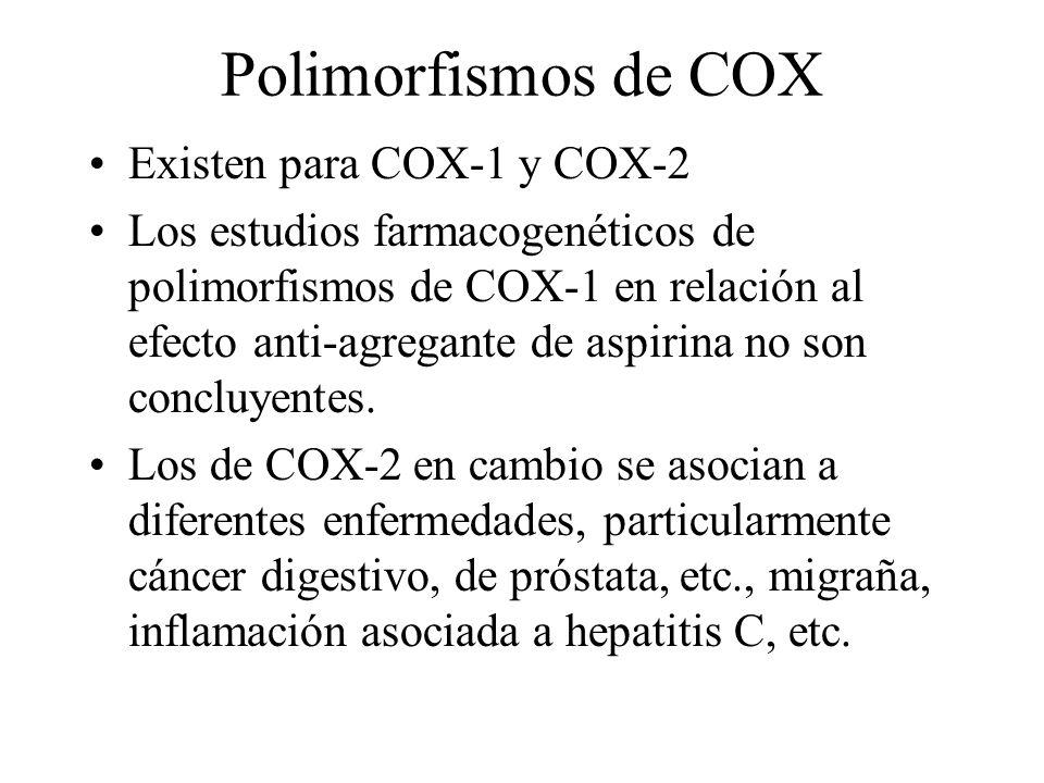 Polimorfismos de COX Existen para COX-1 y COX-2 Los estudios farmacogenéticos de polimorfismos de COX-1 en relación al efecto anti-agregante de aspiri