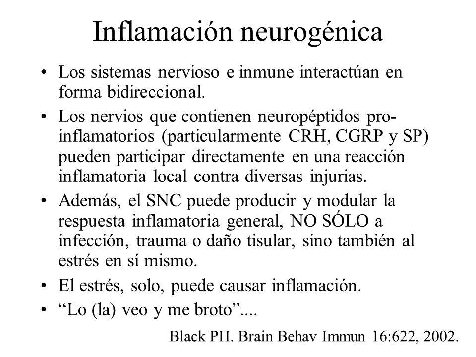 Inflamación neurogénica Los sistemas nervioso e inmune interactúan en forma bidireccional. Los nervios que contienen neuropéptidos pro- inflamatorios