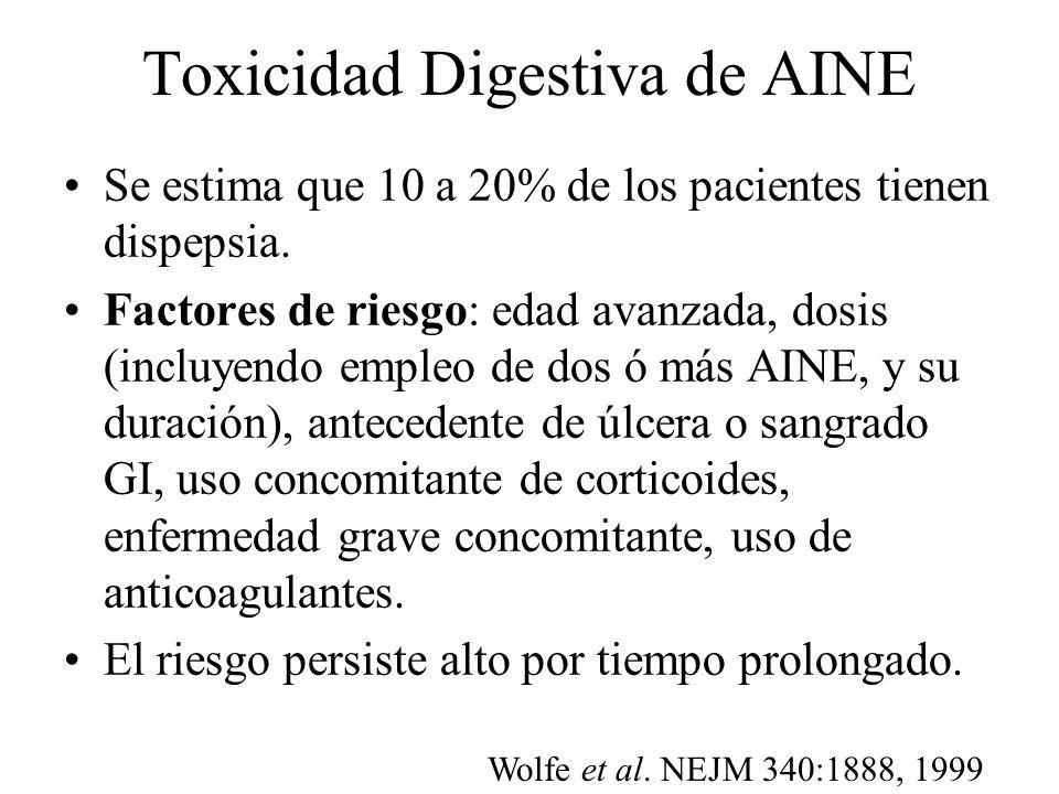 Toxicidad Digestiva de AINE Se estima que 10 a 20% de los pacientes tienen dispepsia. Factores de riesgo: edad avanzada, dosis (incluyendo empleo de d