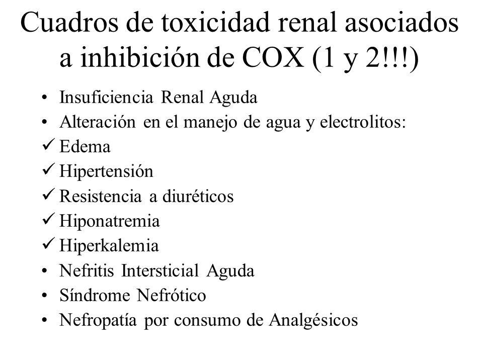 Cuadros de toxicidad renal asociados a inhibición de COX (1 y 2!!!) Insuficiencia Renal Aguda Alteración en el manejo de agua y electrolitos: Edema Hi