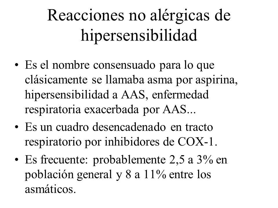 Reacciones no alérgicas de hipersensibilidad Es el nombre consensuado para lo que clásicamente se llamaba asma por aspirina, hipersensibilidad a AAS,