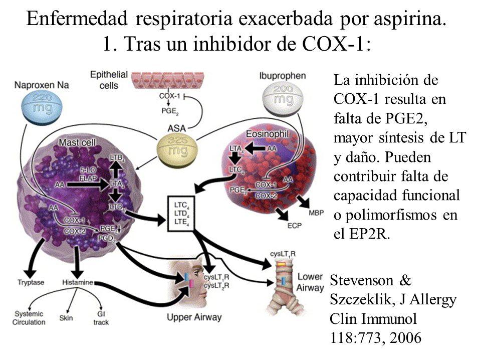 Enfermedad respiratoria exacerbada por aspirina. 1. Tras un inhibidor de COX-1: La inhibición de COX-1 resulta en falta de PGE2, mayor síntesis de LT
