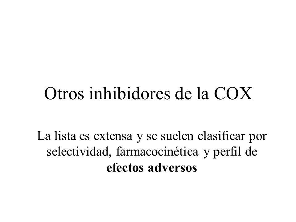 Otros inhibidores de la COX La lista es extensa y se suelen clasificar por selectividad, farmacocinética y perfil de efectos adversos