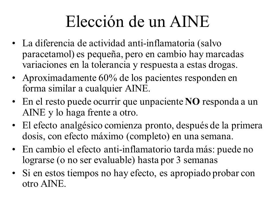 Elección de un AINE La diferencia de actividad anti-inflamatoria (salvo paracetamol) es pequeña, pero en cambio hay marcadas variaciones en la toleran