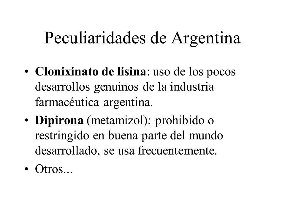 Peculiaridades de Argentina Clonixinato de lisina: uso de los pocos desarrollos genuinos de la industria farmacéutica argentina. Dipirona (metamizol):