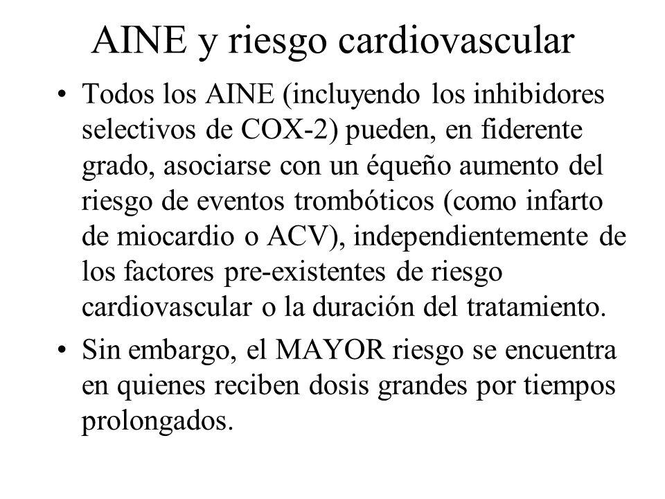AINE y riesgo cardiovascular Todos los AINE (incluyendo los inhibidores selectivos de COX-2) pueden, en fiderente grado, asociarse con un équeño aumen