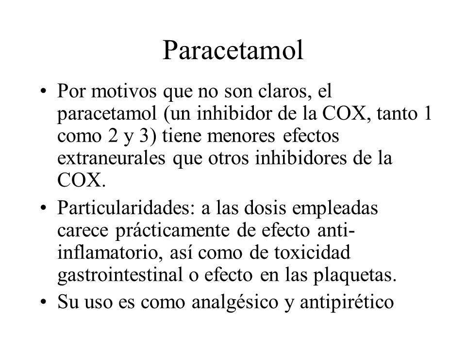 Paracetamol Por motivos que no son claros, el paracetamol (un inhibidor de la COX, tanto 1 como 2 y 3) tiene menores efectos extraneurales que otros i