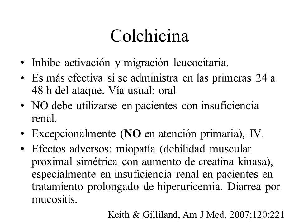 Colchicina Inhibe activación y migración leucocitaria. Es más efectiva si se administra en las primeras 24 a 48 h del ataque. Vía usual: oral NO debe