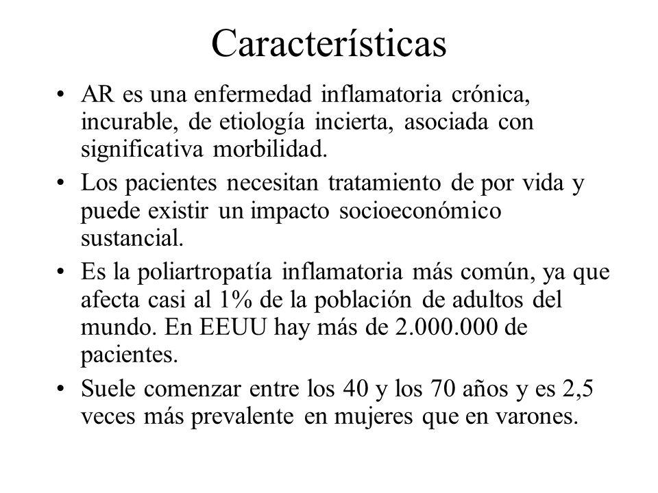 Características AR es una enfermedad inflamatoria crónica, incurable, de etiología incierta, asociada con significativa morbilidad. Los pacientes nece