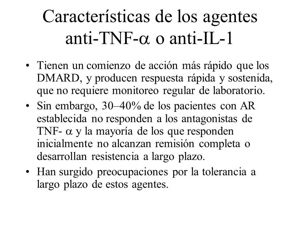 Características de los agentes anti-TNF- o anti-IL-1 Tienen un comienzo de acción más rápido que los DMARD, y producen respuesta rápida y sostenida, q