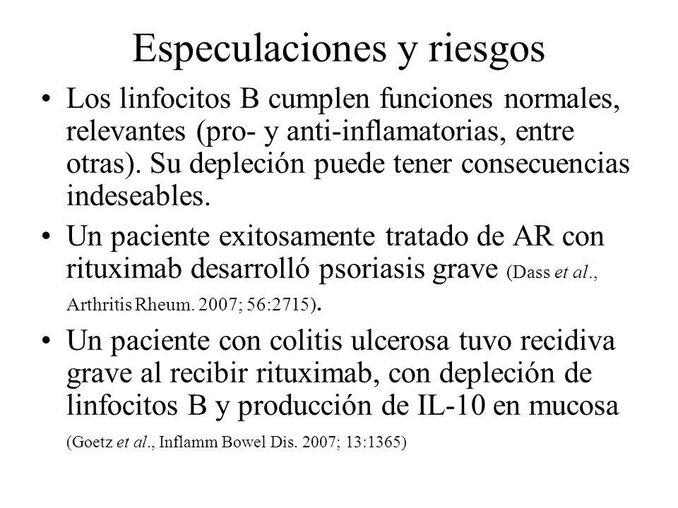 Especulaciones y riesgos Los linfocitos B cumplen funciones normales, relevantes (pro- y anti-inflamatorias, entre otras). Su depleción puede tener co