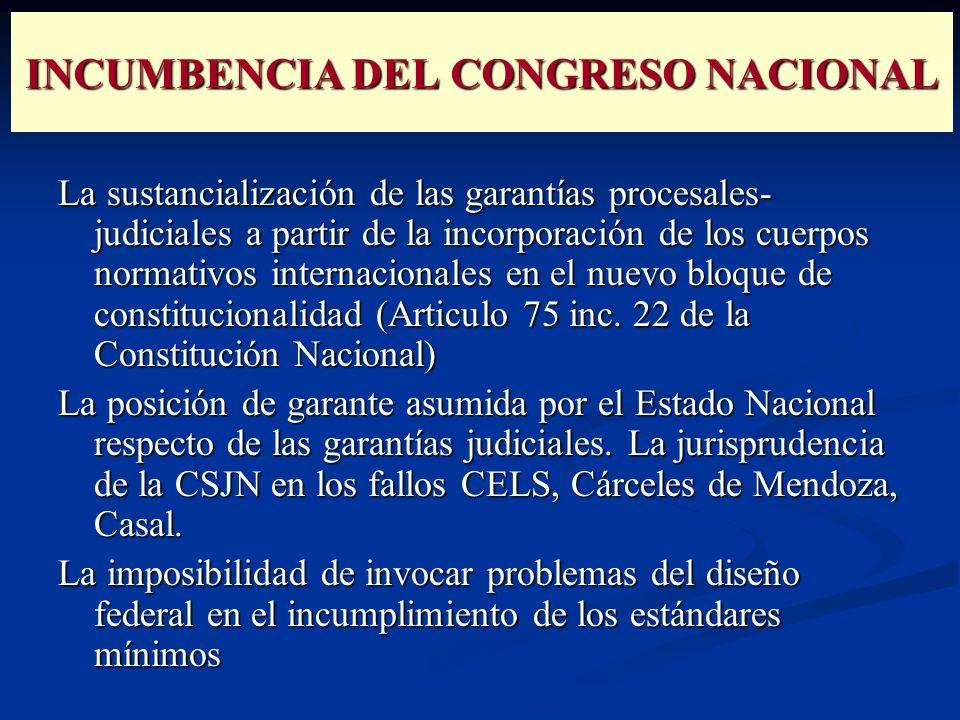 INCUMBENCIA DEL CONGRESO NACIONAL La sustancialización de las garantías procesales- judiciales a partir de la incorporación de los cuerpos normativos internacionales en el nuevo bloque de constitucionalidad (Articulo 75 inc.