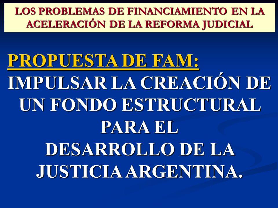 PROPUESTA DE FAM: IMPULSAR LA CREACIÓN DE UN FONDO ESTRUCTURAL PARA EL DESARROLLO DE LA JUSTICIA ARGENTINA.