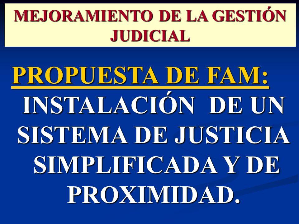 PROPUESTA DE FAM: INSTALACIÓN DE UN SISTEMA DE JUSTICIA SIMPLIFICADA Y DE PROXIMIDAD.