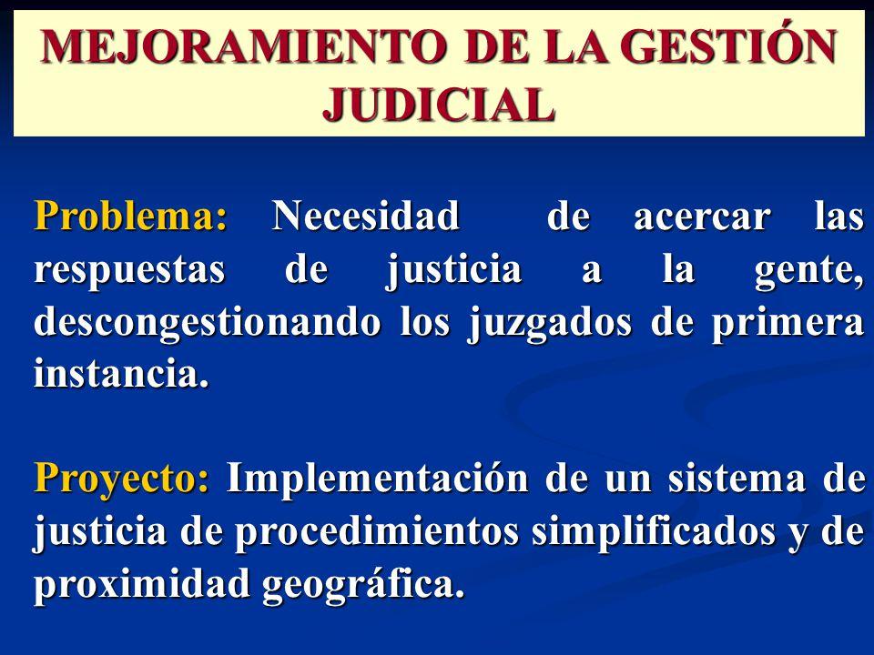 Problema: Necesidad de acercar las respuestas de justicia a la gente, descongestionando los juzgados de primera instancia.