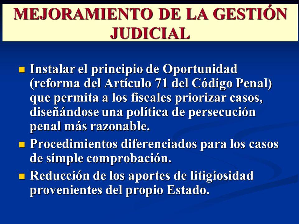 Instalar el principio de Oportunidad (reforma del Artículo 71 del Código Penal) que permita a los fiscales priorizar casos, diseñándose una política de persecución penal más razonable.