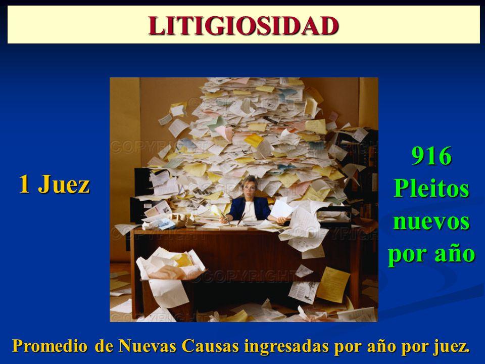 Promedio de Nuevas Causas ingresadas por año por juez. 1 Juez LITIGIOSIDAD 916Pleitosnuevos por año