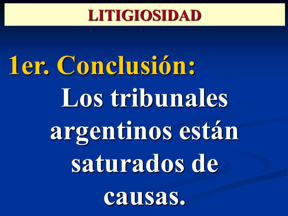 1er. Conclusión: Los tribunales argentinos están saturados de causas. LITIGIOSIDAD