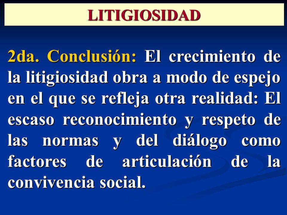 2da. Conclusión: El crecimiento de la litigiosidad obra a modo de espejo en el que se refleja otra realidad: El escaso reconocimiento y respeto de las