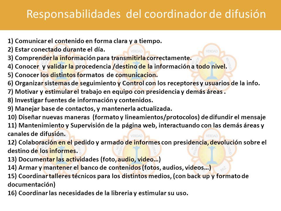 Responsabilidades del coordinador de difusión 1) Comunicar el contenido en forma clara y a tiempo. 2) Estar conectado durante el día. 3) Comprender la