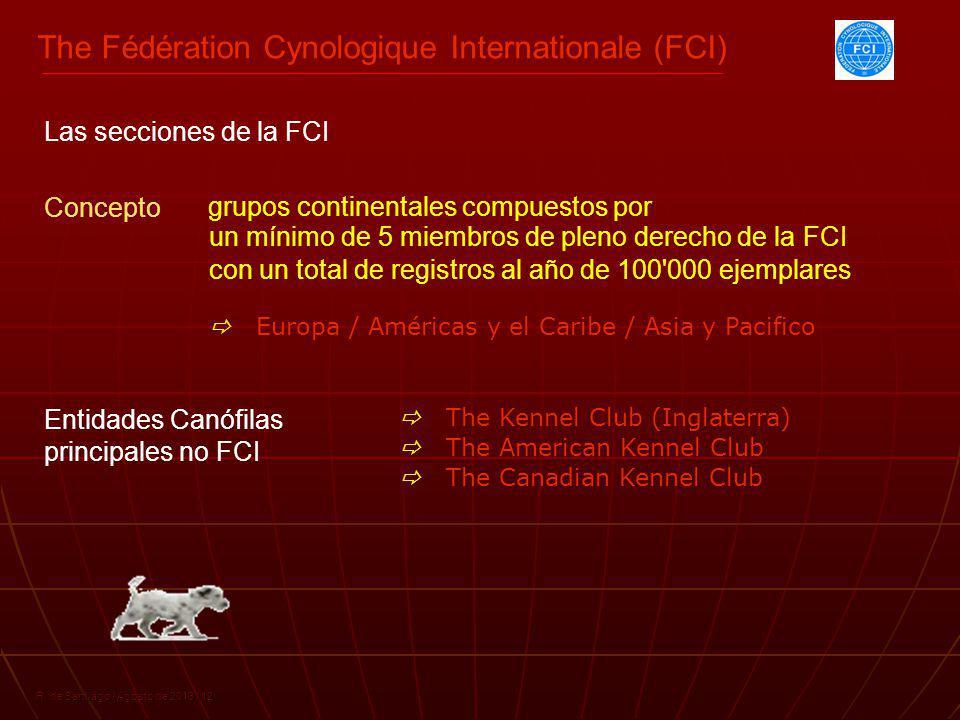 The Fédération Cynologique Internationale (FCI) R. de Santiago / Agosto de 2013 / 12 grupos continentales compuestos por Concepto con un total de regi