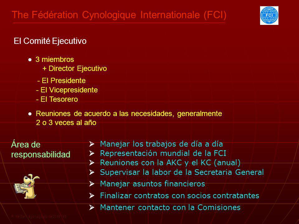 The Fédération Cynologique Internationale (FCI) R. de Santiago / Agosto de 2013 / 16 3 miembros + Director Ejecutivo Supervisar la labor de la Secreta
