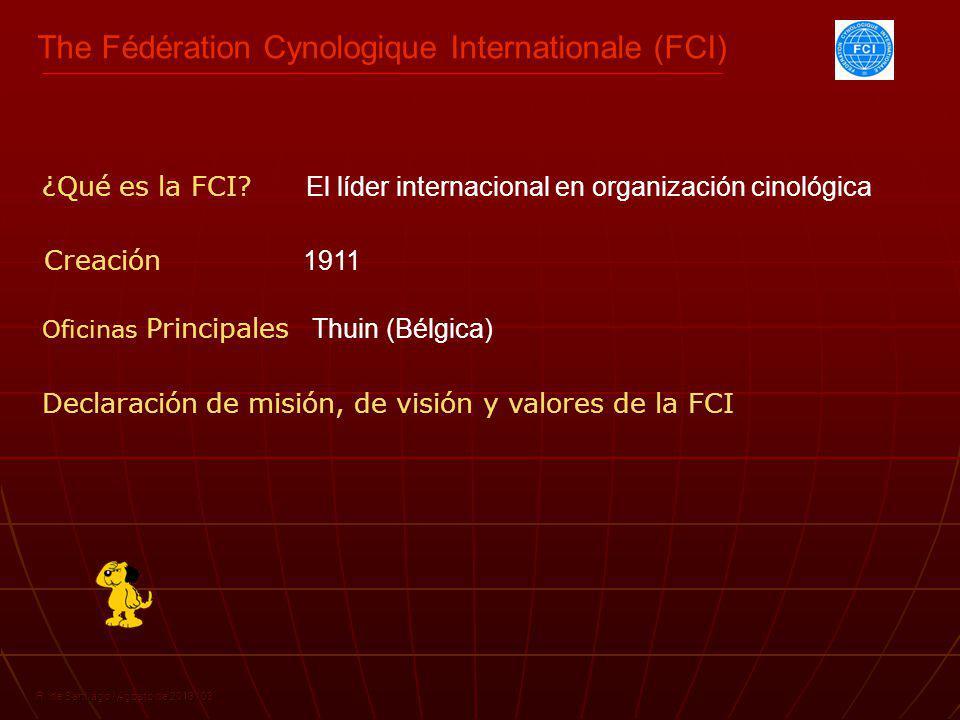 R. de Santiago / Agosto de 2013 / 03 ¿Qué es la FCI? El líder internacional en organización cinológica Creación 1911 Oficinas Principales Thuin (Bélgi