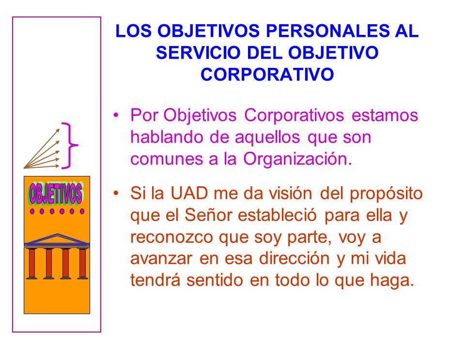 LOS OBJETIVOS PERSONALES AL SERVICIO DEL OBJETIVO CORPORATIVO Por Objetivos Corporativos estamos hablando de aquellos que son comunes a la Organización.