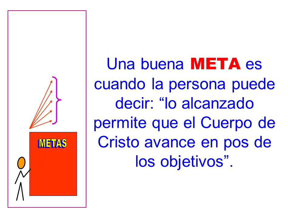 Una buena META es cuando la persona puede decir: lo alcanzado permite que el Cuerpo de Cristo avance en pos de los objetivos.