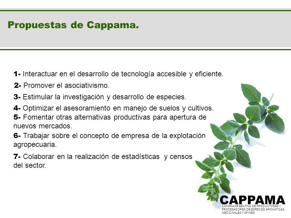 Propuestas de Cappama. CAPPAMA CAMARA ARGENTINA DE PRODUCTORES Y PROCESADORES DE ESPECIES AROMATICAS, MEDICINALES Y AFINES CAPPAMA CAMARA ARGENTINA DE