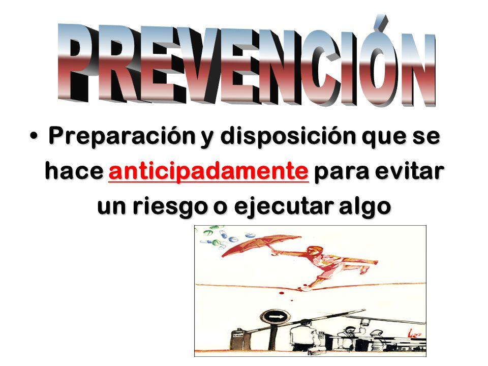 Preparación y disposición que sePreparación y disposición que se hace anticipadamente para evitar un riesgo o ejecutar algo