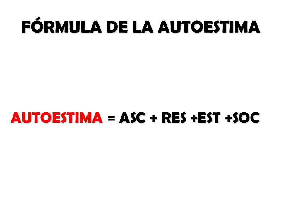 FÓRMULA DE LA AUTOESTIMA AUTOESTIMA = ASC + RES +EST +SOC