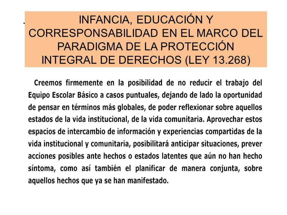 . INFANCIA, EDUCACIÓN Y CORRESPONSABILIDAD EN EL MARCO DEL PARADIGMA DE LA PROTECCIÓN INTEGRAL DE DERECHOS (LEY 13.268)