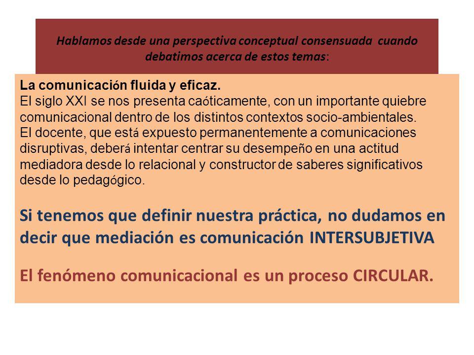 Hablamos desde una perspectiva conceptual consensuada cuando debatimos acerca de estos temas: La comunicaci ó n fluida y eficaz.