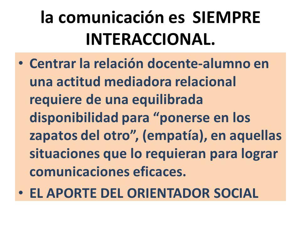 la comunicación es SIEMPRE INTERACCIONAL.