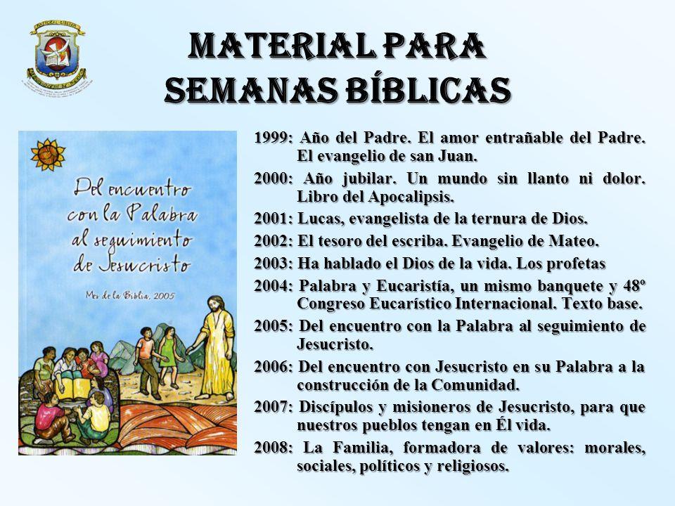MATERIAL PARA SEMANAS BÍBLICAS 1999: Año del Padre. El amor entrañable del Padre. El evangelio de san Juan. 2000: Año jubilar. Un mundo sin llanto ni
