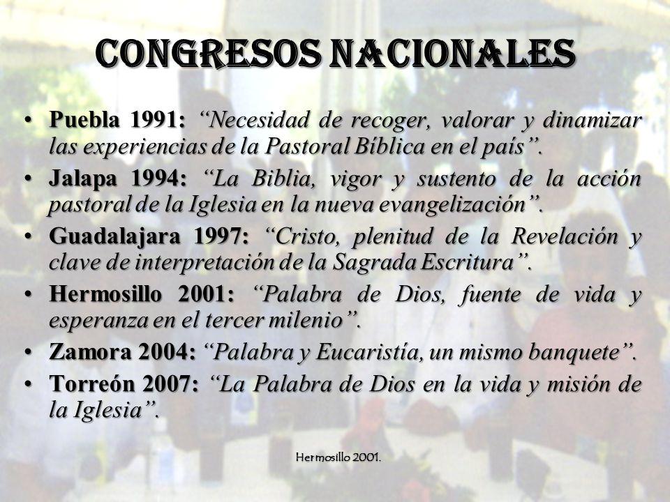 CONGRESOS NACIONALES Puebla 1991: Necesidad de recoger, valorar y dinamizar las experiencias de la Pastoral Bíblica en el país.Puebla 1991: Necesidad