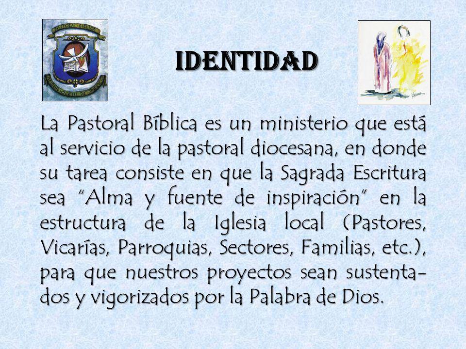 IDENTIDAD La Pastoral Bíblica es un ministerio que está al servicio de la pastoral diocesana, en donde su tarea consiste en que la Sagrada Escritura s