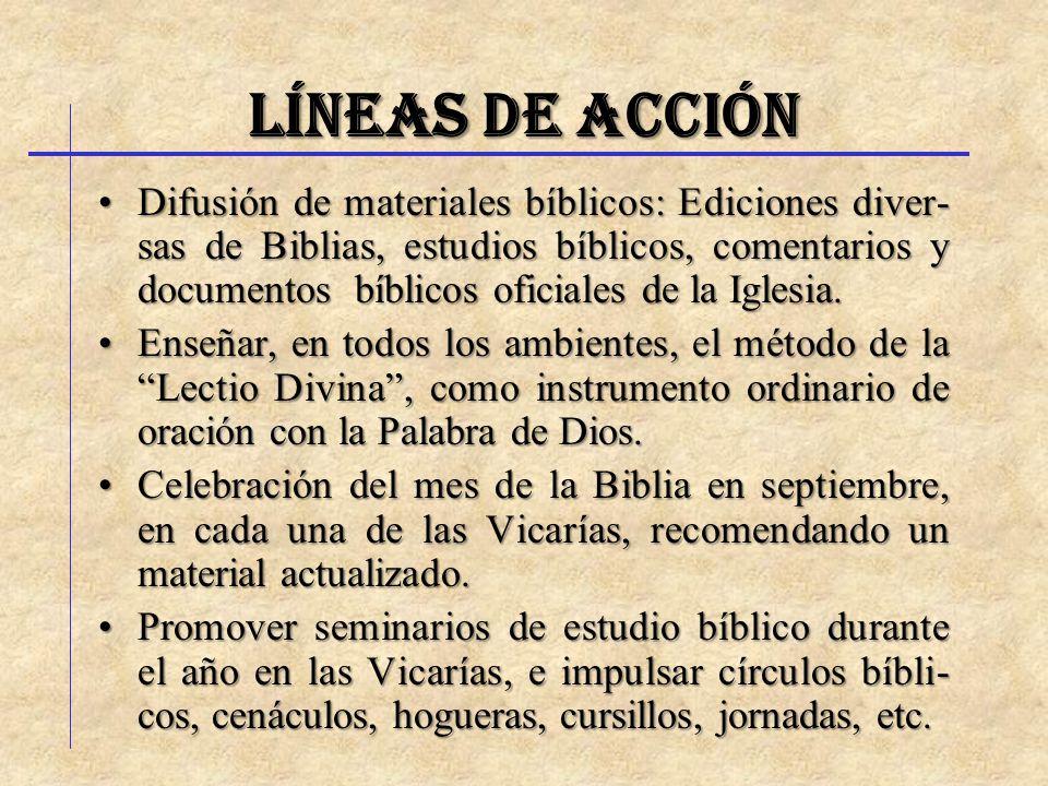 LÍNEAS DE ACCIÓN Difusión de materiales bíblicos: Ediciones diver- sas de Biblias, estudios bíblicos, comentarios y documentos bíblicos oficiales de l