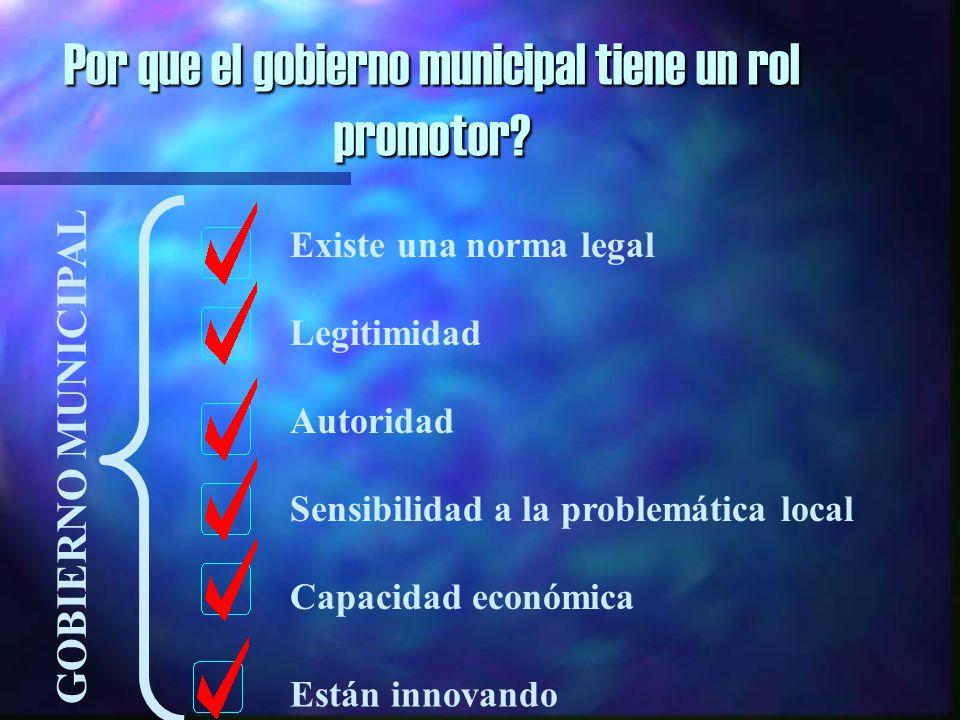 Por que el gobierno municipal tiene un rol promotor.