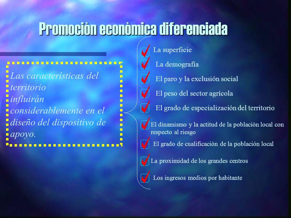 Promociòn econòmica diferenciada Las características del territorio influirán considerablemente en el diseño del dispositivo de apoyo.